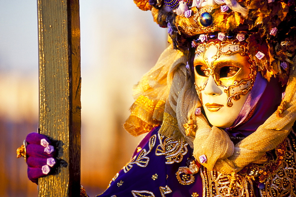 Portrait of a person dressed in mask and costume taking part in Carnival, Venice Carnival, Venice, Veneto, Italy, Europe - 321-3820