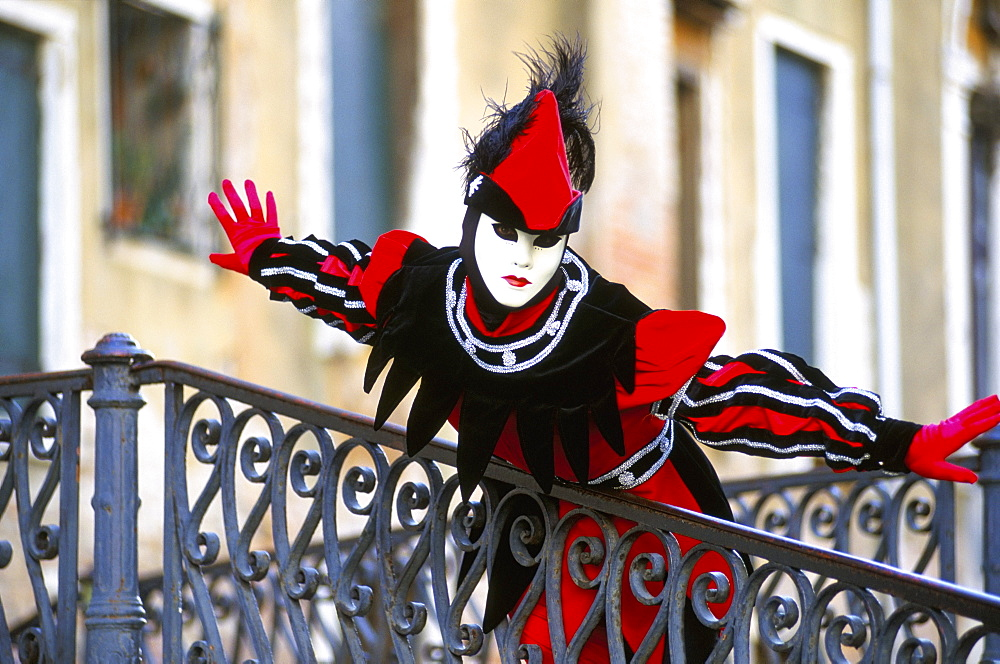 Portrait of a person dressed in mask and costume taking part in Carnival, Venice Carnival, Venice, Veneto, Italy, Europe - 321-3822
