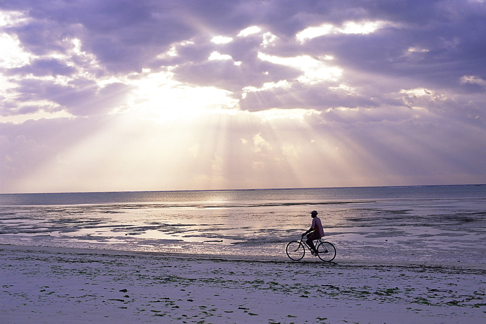 Fisherman cycling along the beach near Bweju against dramatic sky, island of Zanzibar, Tanzania, East Africa, Africa - 321-3923