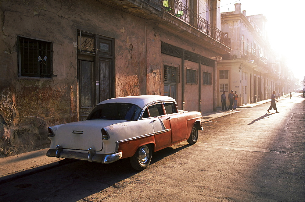 Early morning street scene with classic American car, Havana, Cuba, West Indies, Central America - 321-4051