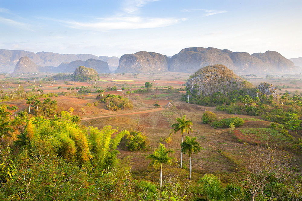 Early morning view over the Vinales Valley, UNESCO World Heritage Site, from Hotel Los Jasmines, Vinales, Pinar del Rio, Cuba, West Indies, Central America
