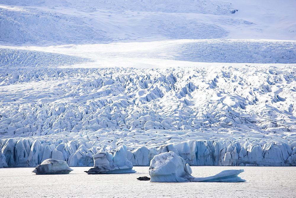 Tongue of the Vatnajokull Glacier at Fjallsarlon glacial lagoon, South Iceland, Iceland, Polar Regions