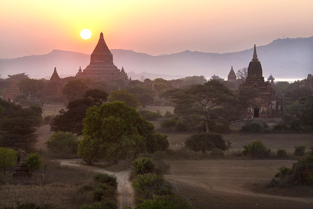 View over the temples of Bagan at sunset, from Shwesandaw Paya, Bagan, Myanmar (Burma), Southeast Asia