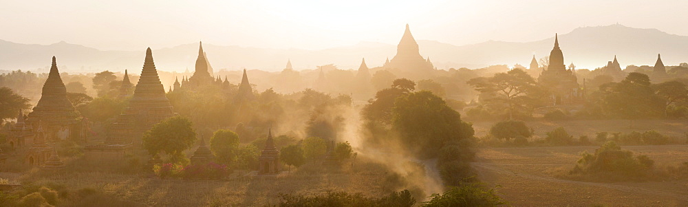 Panoramic view at sunset over the plain and temples of Bagan from Shwesandaw Paya, Bagan Central Plain, Myanmar (Burma)