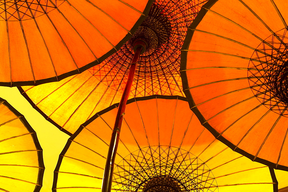 Colourful yellow and orange parasols backlight, Bagan, Myanmar (Burma), Southeast Asia - 321-5082