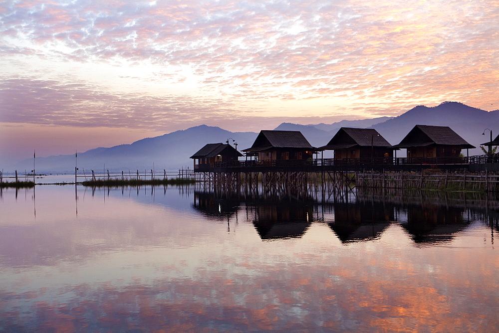 Golden Island Cottages at sunrise, tourist accommodation on Inle Lake, Myanmar (Burma) - 321-5129
