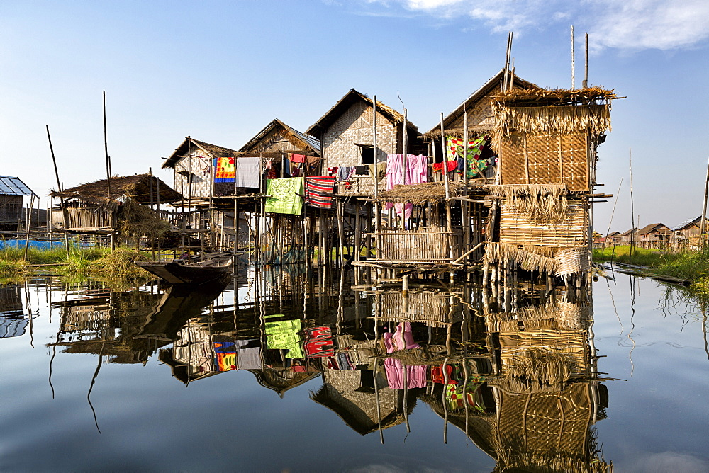 Houses built on stilts in the village of Nampan on the edge of Inle Lake, Myanmar (Burma), Southeast Asia
