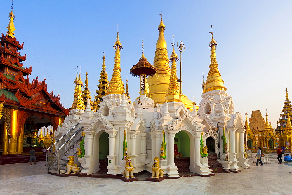 Temples and shrines at Shwedagon Paya (Pagoda), Yangon (Rangoon), Myanmar (Burma), Asia - 321-5181