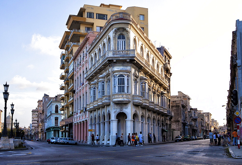 Buildings at the end of Prado, near The Malecon, Havana Centro, Havana, Cuba, West Indies, Central America