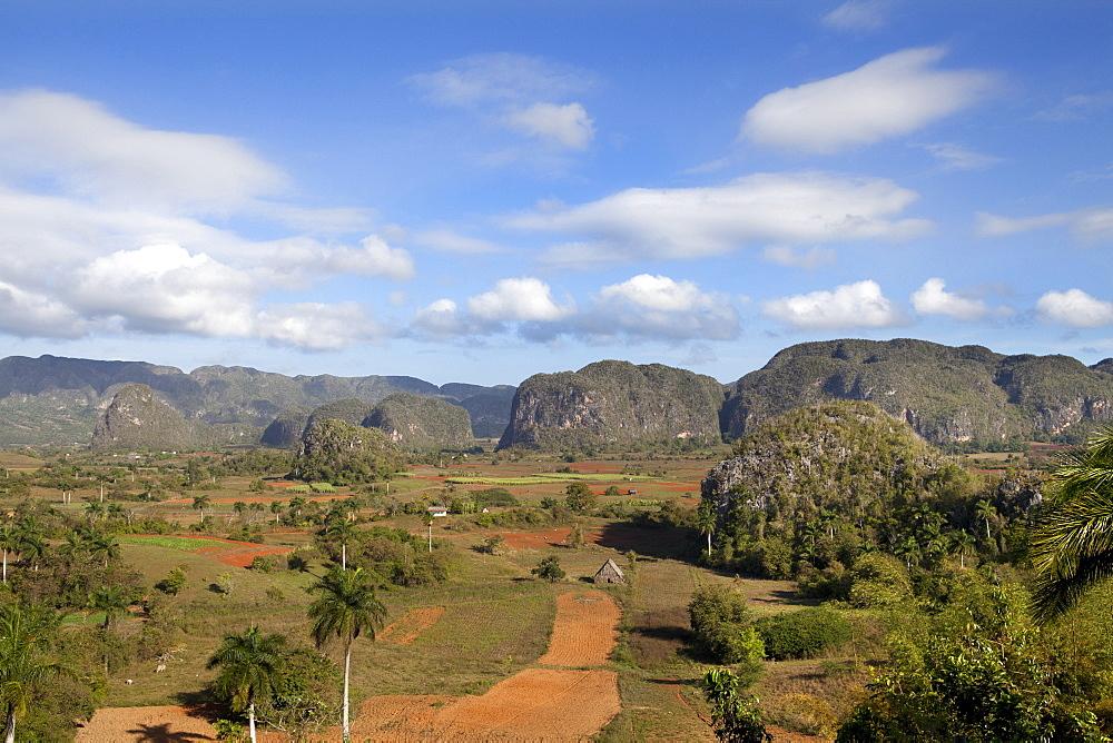 View across Vinales Valley, UNESCO World Heritage Site, from Hotel Los Jasmines, Vinales, Pinar Del Rio Province, Cuba, West Indies, Central America