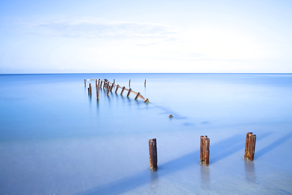 Old jetty in the Caribbean Sea, early morning, Playa Ancon, Trinidad, Cuba, West Indies, Central America