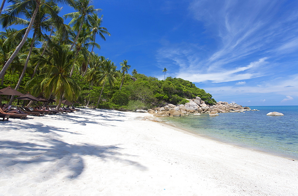 Private secluded beach fringed by palm trees at the Silavadee Pool Spa Resort near Lamai, Koh Samui, Thailand, Southeast Asia, Asia