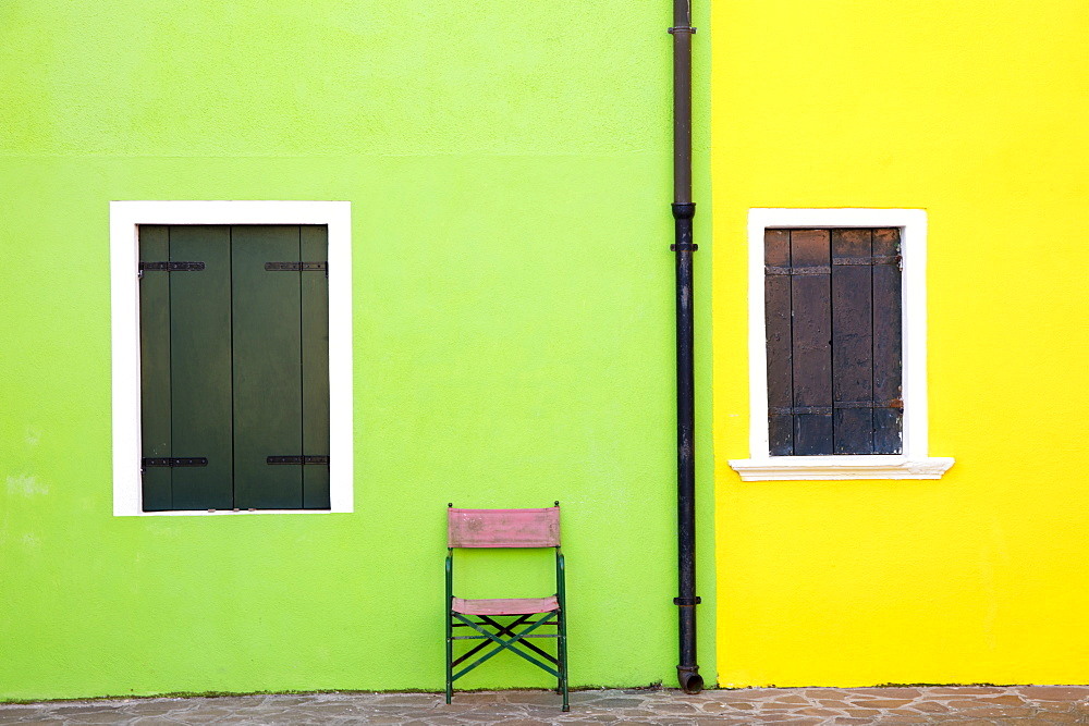 Detail of colourful painted building, island of Burano, Venice, Veneto, Italy, Europe