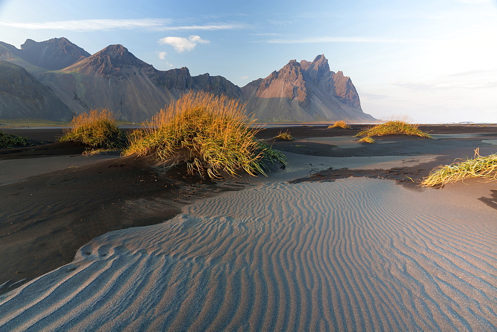Vestrahorn Mountain range and black volcanic beach, Stokksnes, South Iceland, Polar Regions
