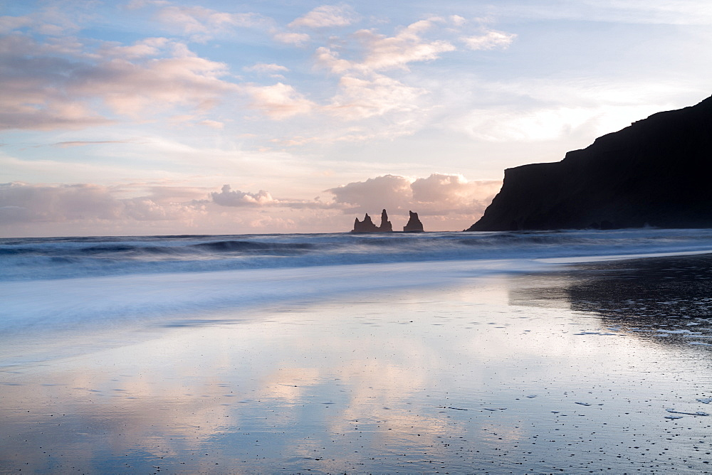 Rock stacks of Reynisfjara, captured from beach at Vik Y Myrdal at sunset, South Iceland, Polar Regions