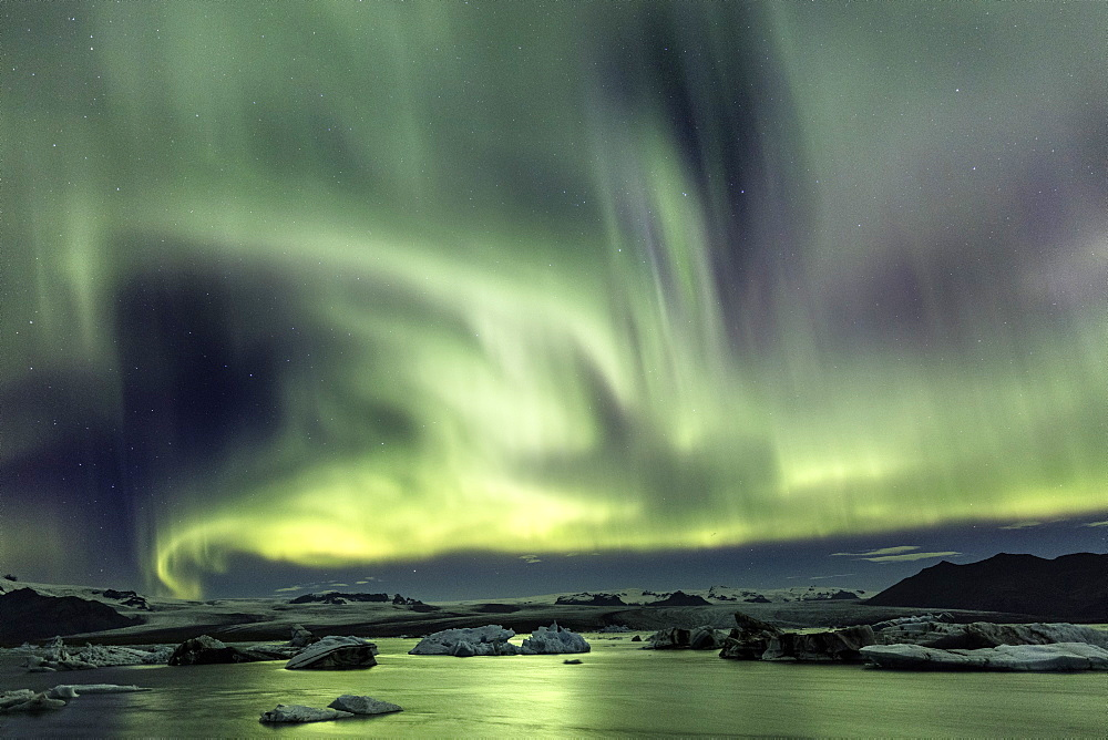 Aurora Borealis (Northern Lights) over Jokulsarlon Glacial Lagoon, South Iceland, Polar Regions