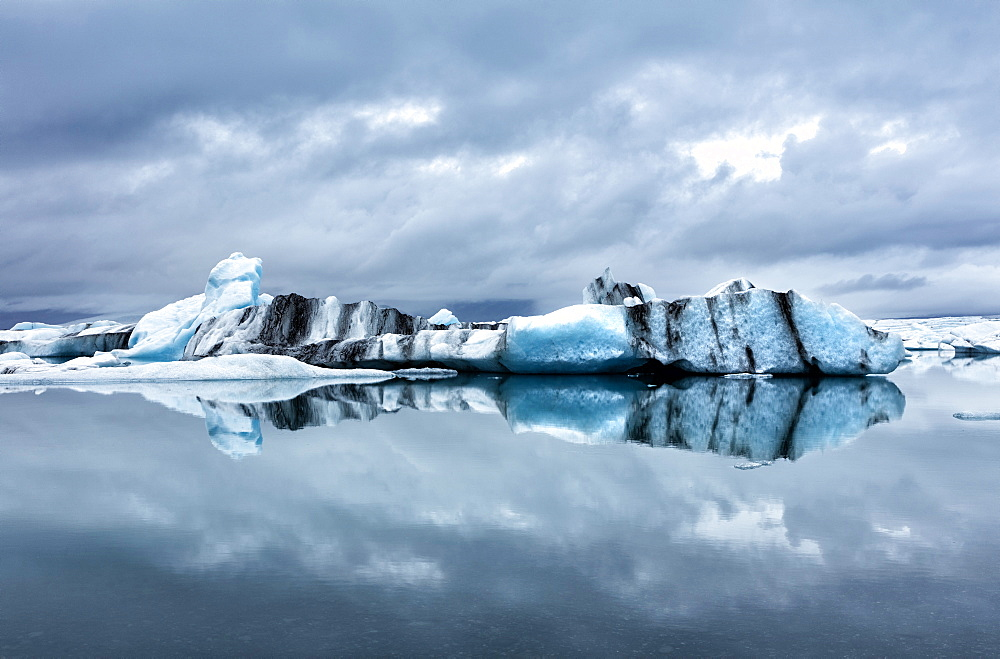 Icebergs and reflections on Jokulsarlon glacial lagoon, South Iceland, Polar Regions - 321-5796