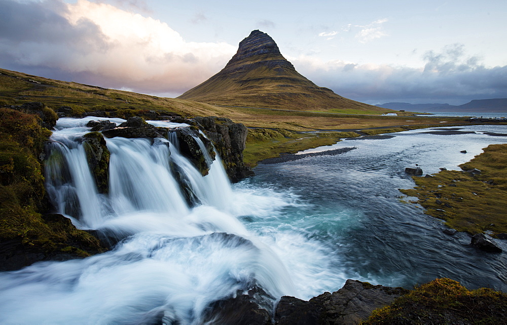 View of Kirkjufell (Church Mountain) and mountain stream, Grundafjordur, Snaefellsnes Peninsula, Iceland, Polar Regions