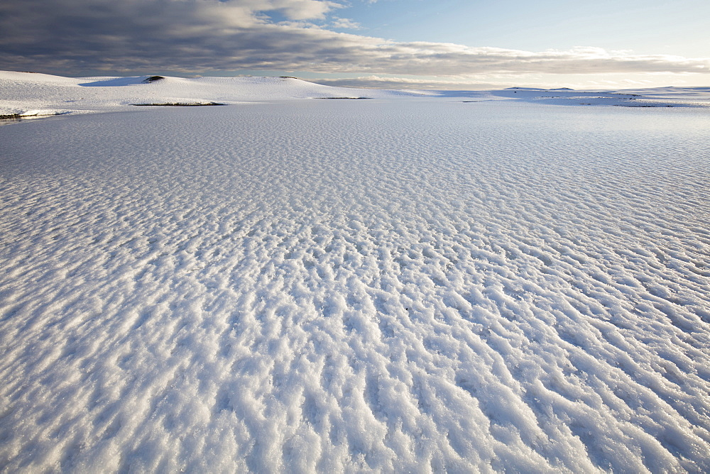 Snow covered landscape in winter, near Jokulsarlon, South Iceland, Polar Regions
