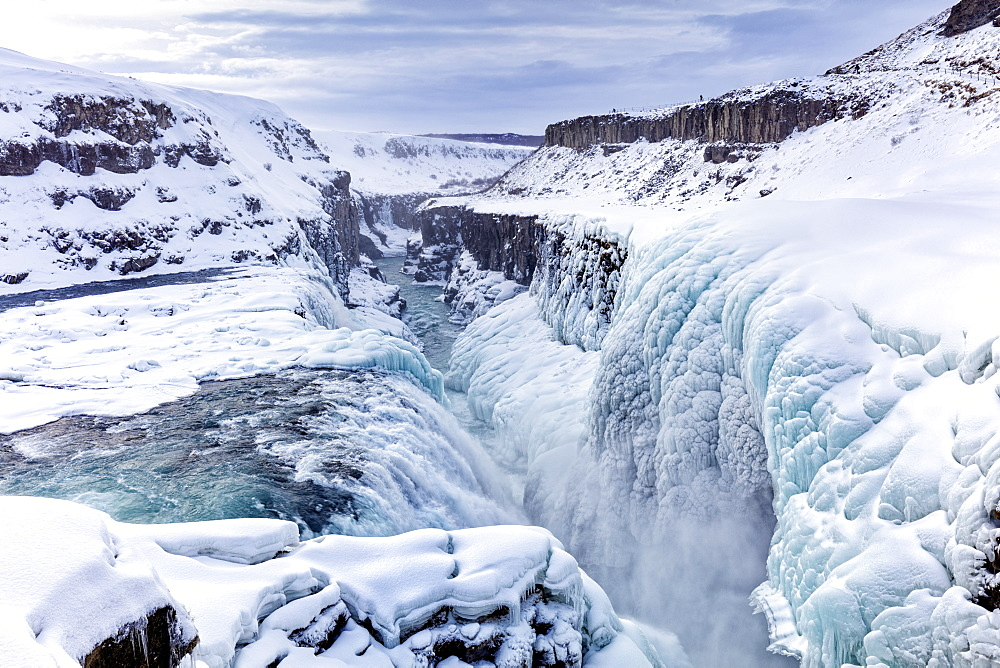 Gullfoss Waterfall, partly frozen in winter, Gullfoss, Iceland, Polar Regions