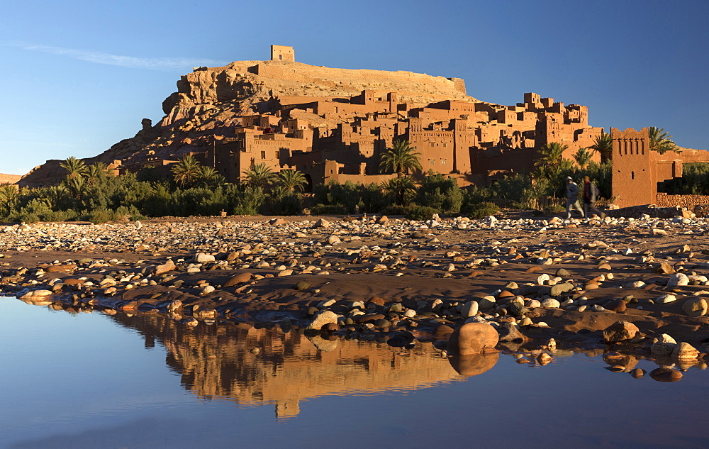The ancient Kasbah Ait Benhaddou bathed in morning light and reflecting in river, UNESCO World Heritage Site, near Ouarzazate, Morocco, North Africa, Africa - 321-5864