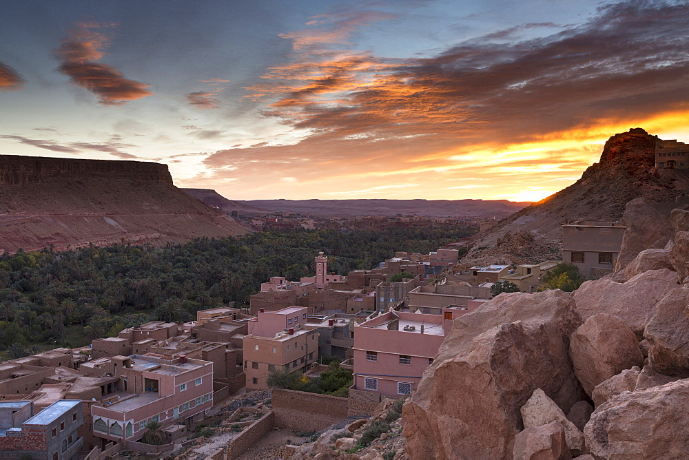 Sunrise over village south of the Todra Gorge near Tinerhir, Morocco.
