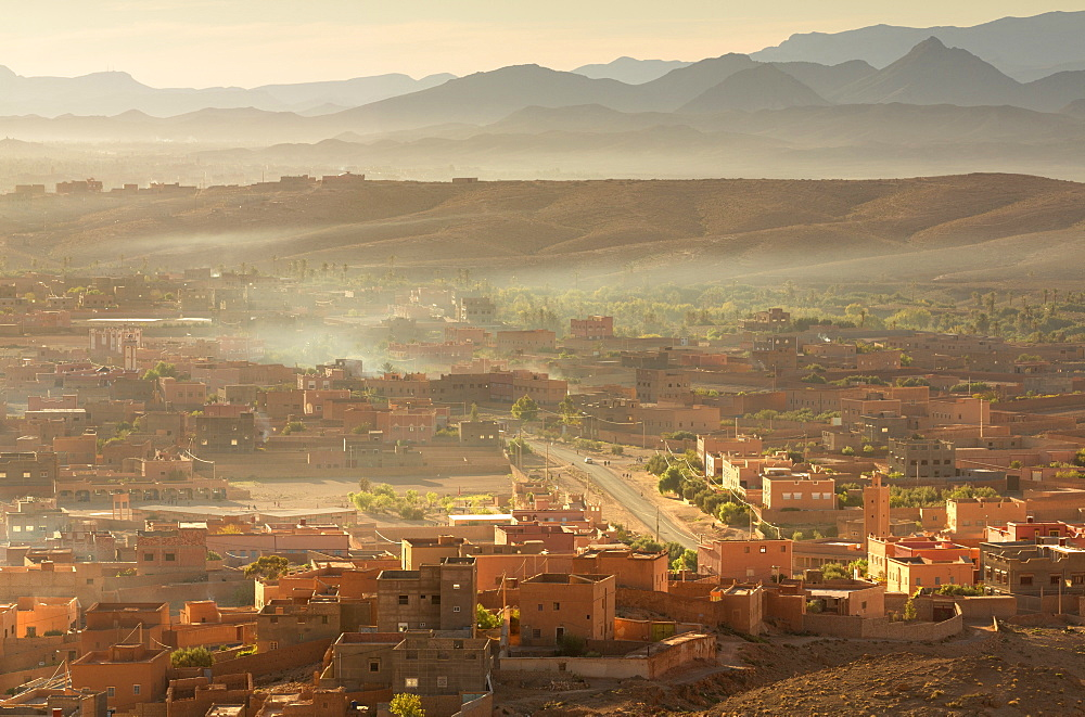 Early morning view over the town of Tinerhir, south of the Todra Gorge, Morocco, North Africa, Africa - 321-5867