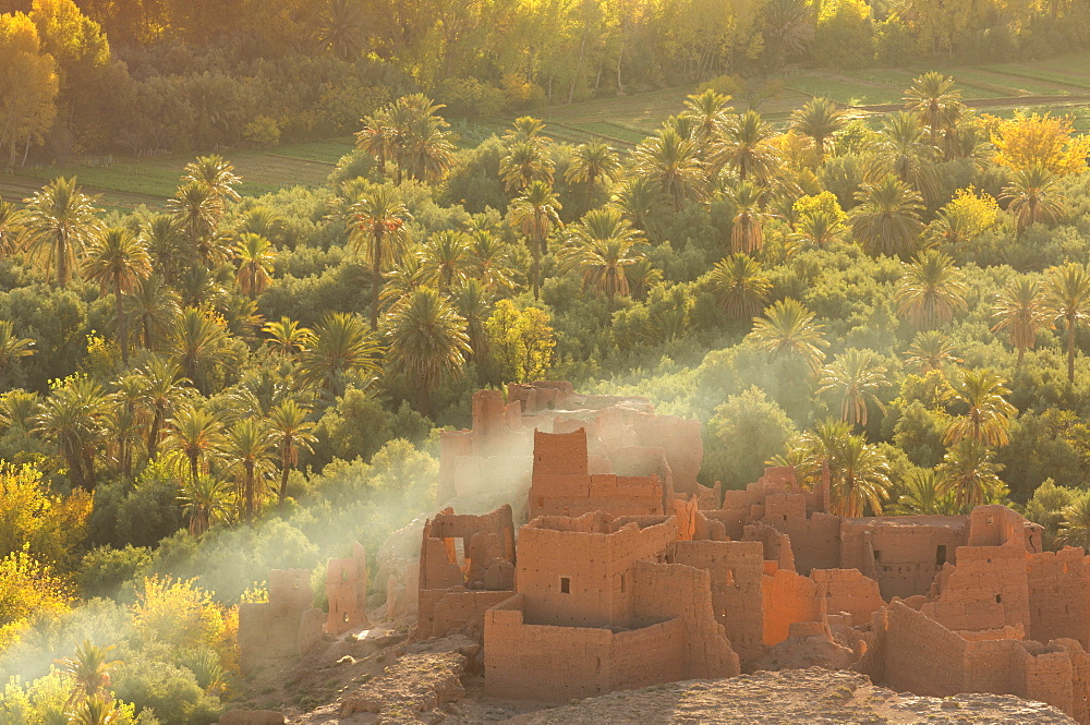 Ruined kasbah in the palmerie near Tinerhir, with smoke from fire swirling through the palm trees, Morocco, North Africa, Africa - 321-5868