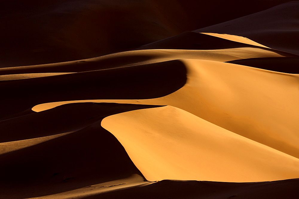 Shapes and shadows in dunes of the Erg Chebbi sand sea, part of the Sahara Desert near Merzouga, Morocco, North Africa, Africa