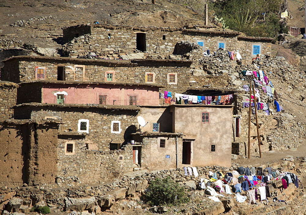 Traditional village in High Atlas Mountains, Morocco, North Africa, Africa - 321-5891