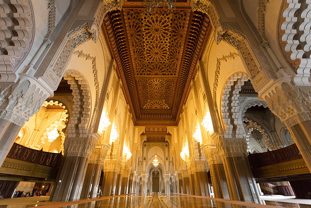 Interior of the Hassan II Mosque (Grande Mosque Hassan II), Casablanca, Morocco