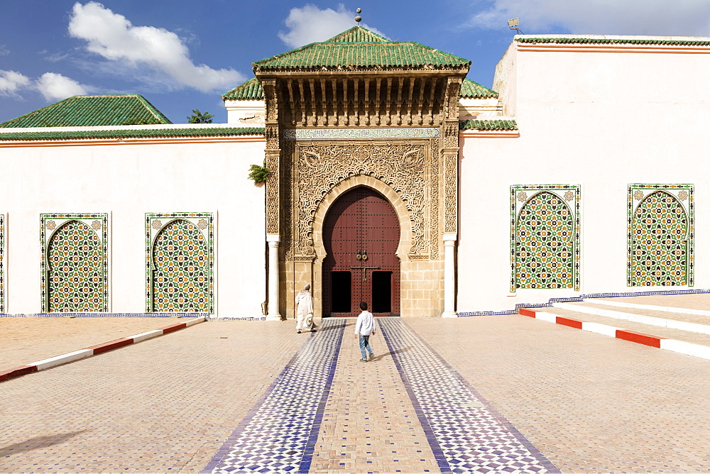 Exterior of the Mausoleum of Moulay Ismail, Meknes, Morocco, North Africa, Africa