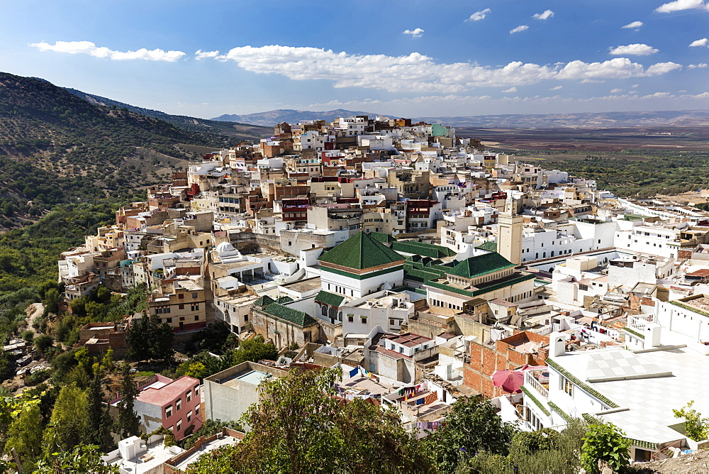 View of the holy town of Moulay Idris, near Meknes, Morocco, North Africa, Africa - 321-5906