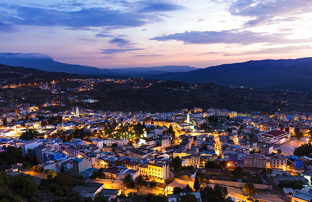 Twilight view over Chefchaouen (Chaouen) (The Blue City), Morocco, North Africa, Africa