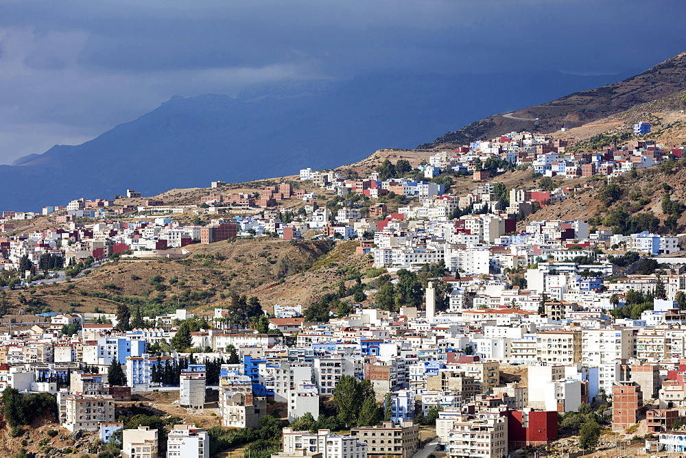 View over Chefchaouen (Chaouen)  (The Blue City), Morocco, North Africa, Africa - 321-5911