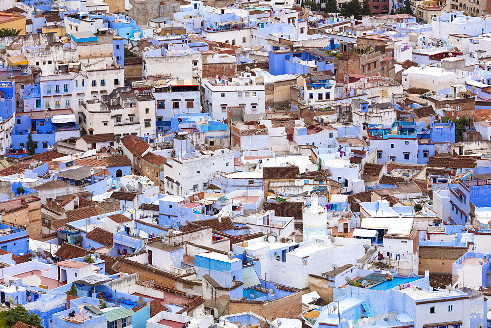 View over Chefchaouen (Chaouen), also known as the Blue City, Morocco