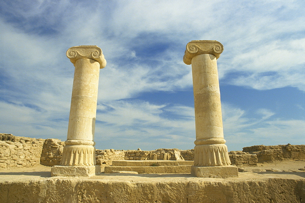 Columns with Ionic capitals at the ruins of a Greek or Alexandrian settlement, Failaka Island, Kuwait, Middle East