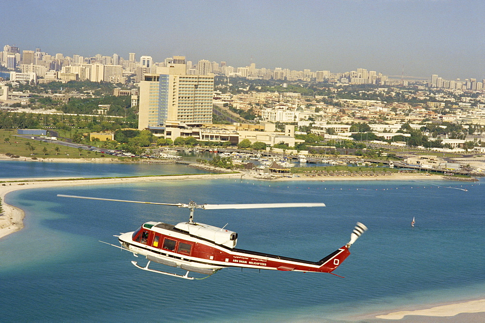 Helicopter over Abu Dhabi, U.A.E., Middle East