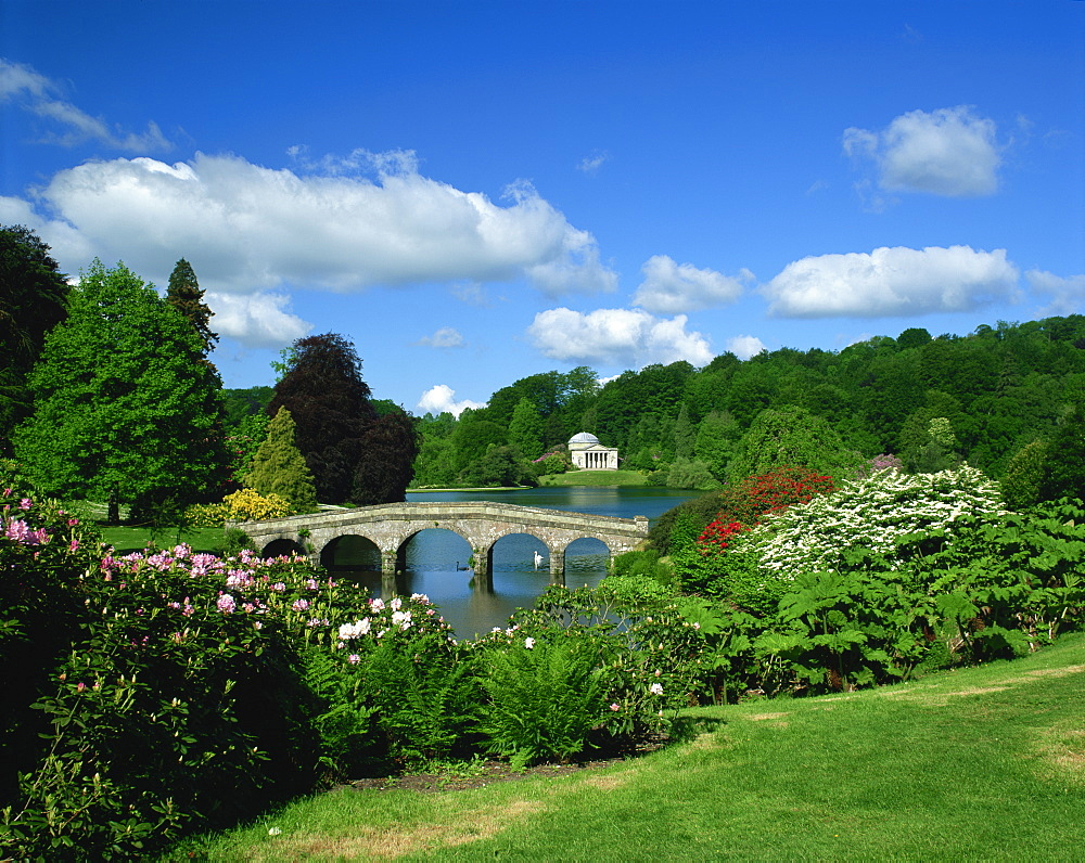 Bridge over lake at Stourhead Gardens, Wiltshire, England, United Kingdom, Europe