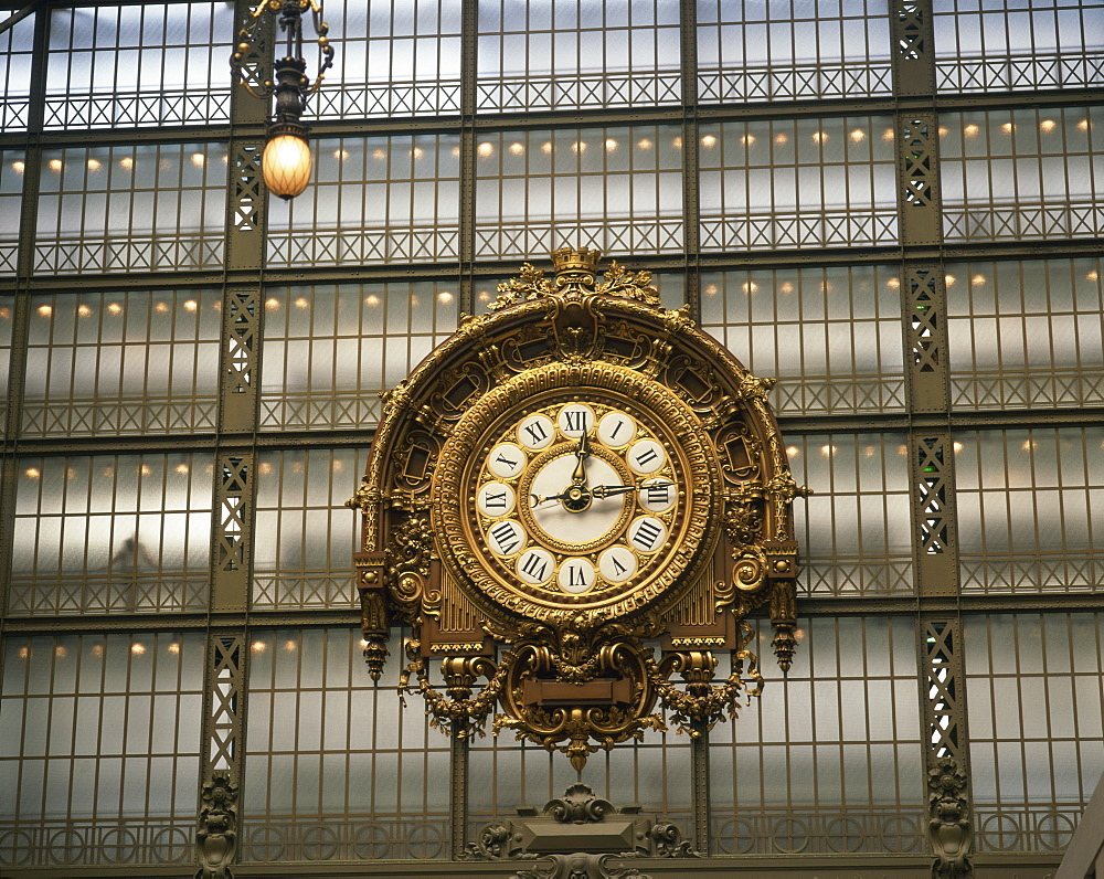 The clock in the Musee d'Orsay, Paris, France, Europe