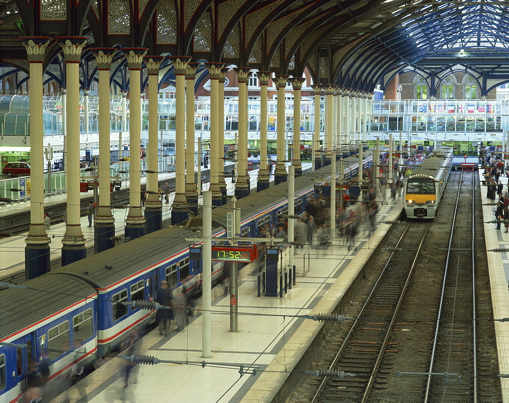 Trains and platforms at Liverpool Street station, London, England, United Kingdom, Europe