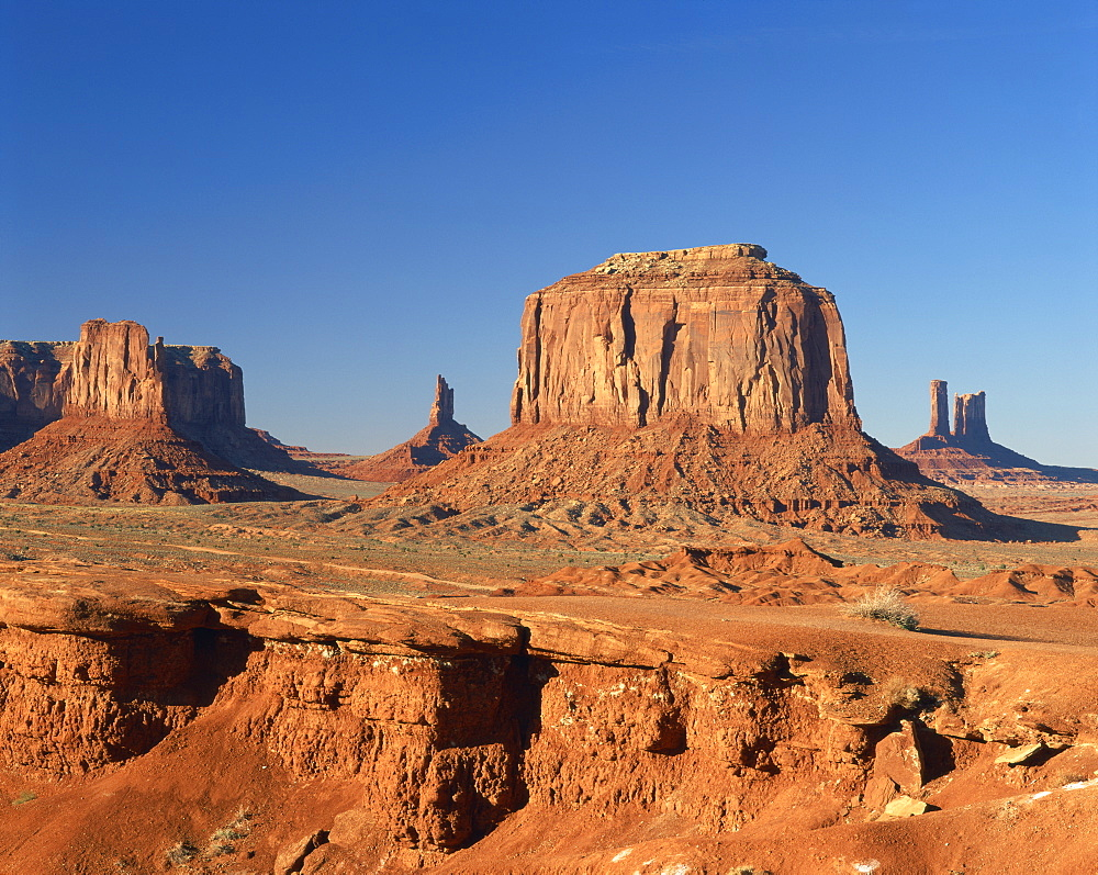 Desert landscape with rock formations in Monument Valley, Arizona, United States of America, North America