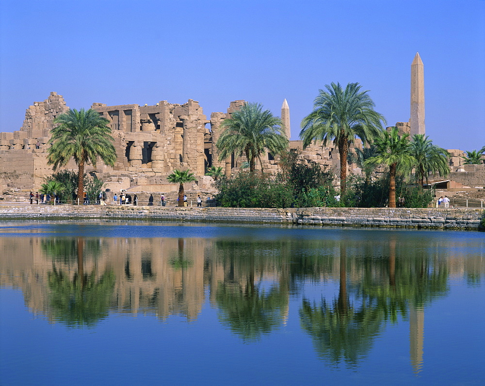Reflections in the sacred lake of the temple, obelisks and palm trees at Karnak, near Luxor, Thebes, UNESCO World Heritage Site, Egypt, North Africa, Africa