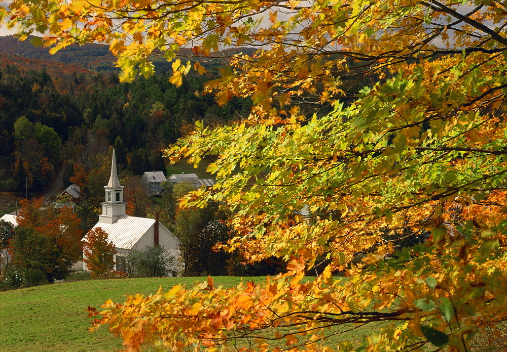 The church at Waits River, during autumn, Vermont, New England, United States of America, North America