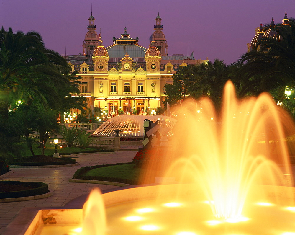 Illuminated fountains in front of the casino at Monte Carlo, Monaco, Europe