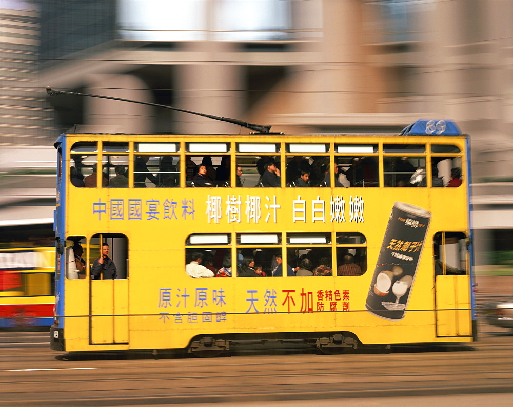 Tram in motion, Causeway Bay, Hong Kong, China, Asia