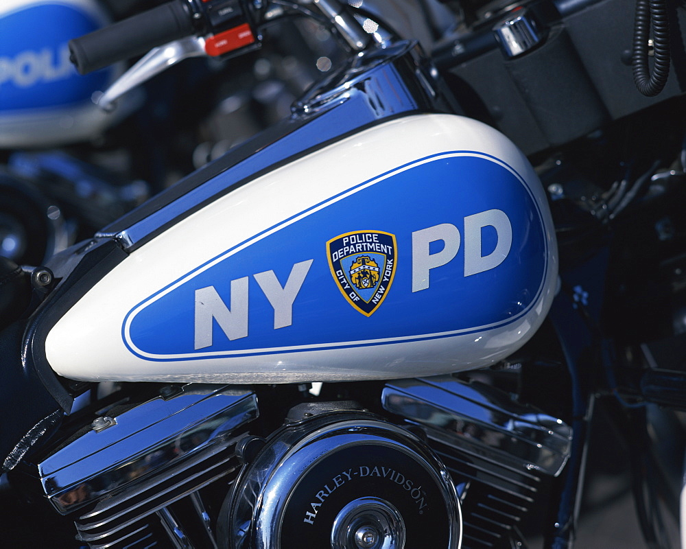Close-up of Harley Davidson motorcycle with insignia of the City of New York Police Department, NYPD, on side, in New York, United States of America, North America