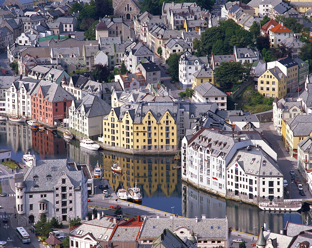 Aerial view over river running through central Alesund, Norway, Scandinavia, Europe