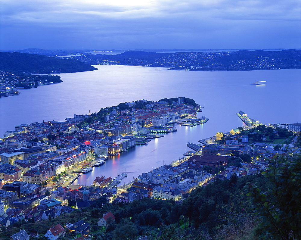 Aerial view the harbour and city of Bergen at dusk, Norway, Scandinavia, Europe