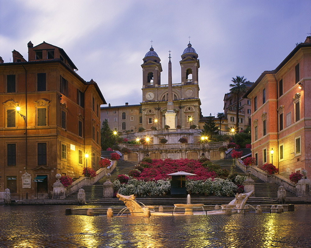The Spanish Steps illuminated in the evening, Rome, Lazio, Italy, Europe